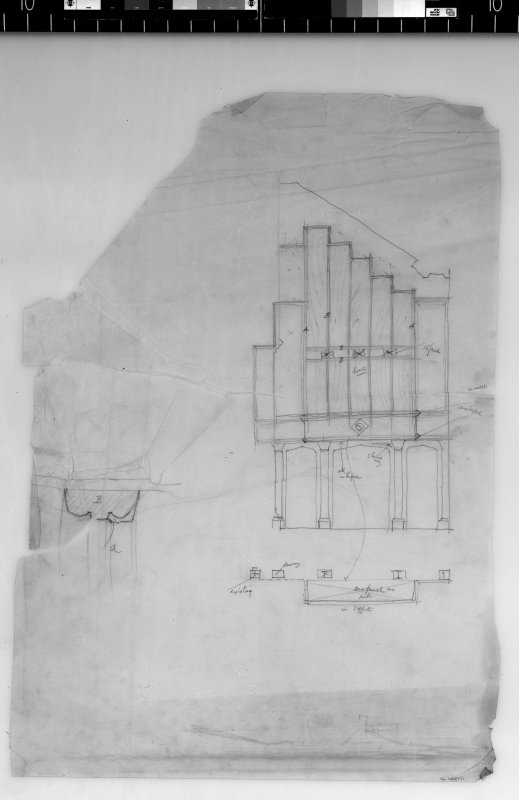 Plan, elevation and detail of organ case. Scanned image of D 4972.