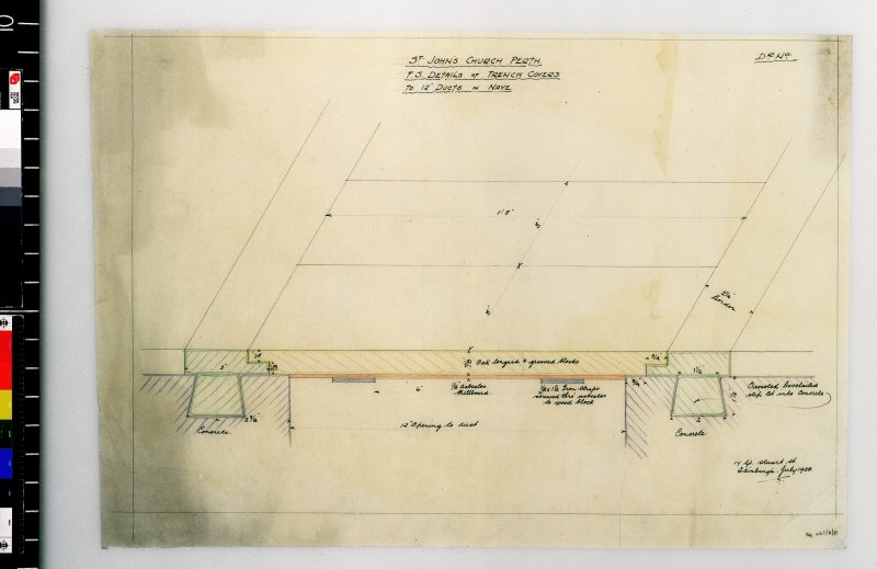 Details of trench covers to ducts in nave. Scanned image of D 4981 CN.