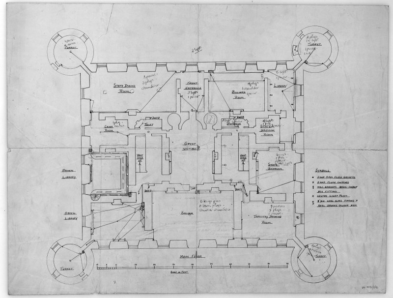 Main floor plan detailing existing electrical layout.   Scanned image of E 42399.