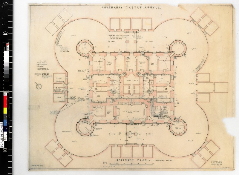 Basement plan with plumbing shown. Scanned image of D 4989 CN.