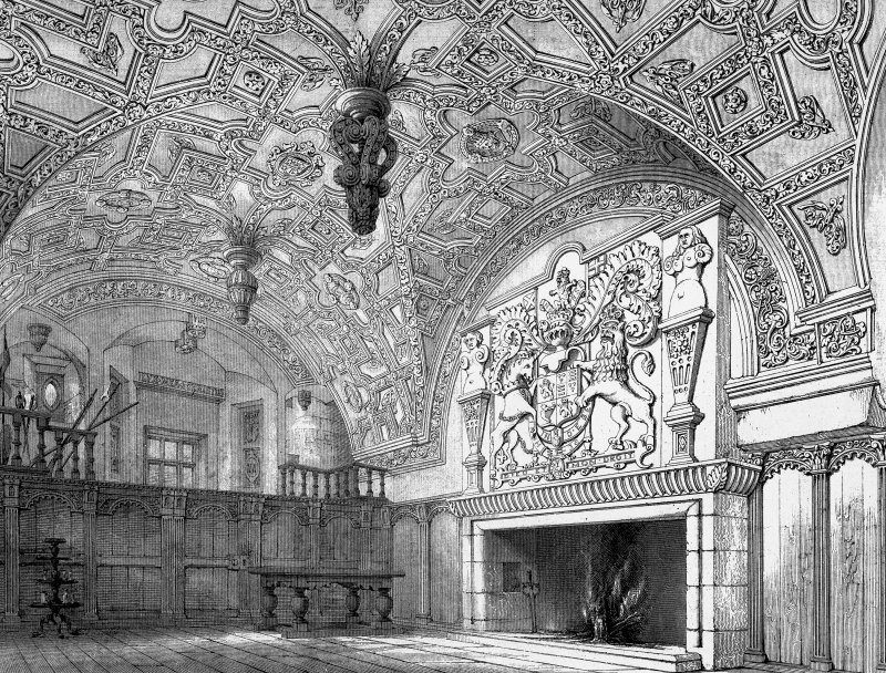 Digital image of a photographic copy of drawing showing view of hall.