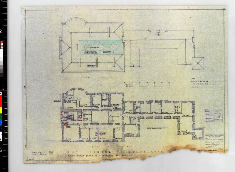 Plans showing alterations and additions to second floor and roof. Scanned image of E 42416 CN.