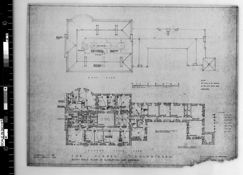 Plans showing alterations and additions to second floor and roof. Scanned image of E 42502.