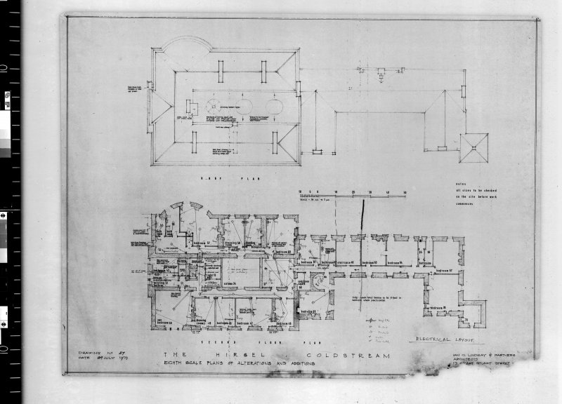 Plans showing alterations to second floor and roof.   Scanned image of E 42403.