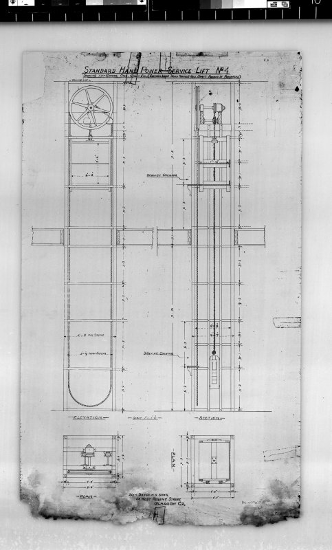 Elevation, section and plan of standard hand power service lift. Scanned image of E 42435.
