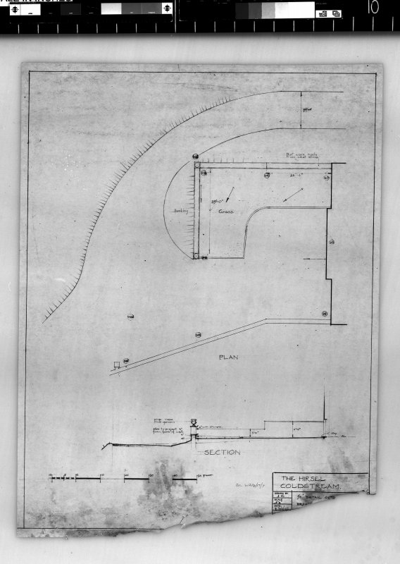 Section and plan showing layout of new drive. Scanned image of E 42436.