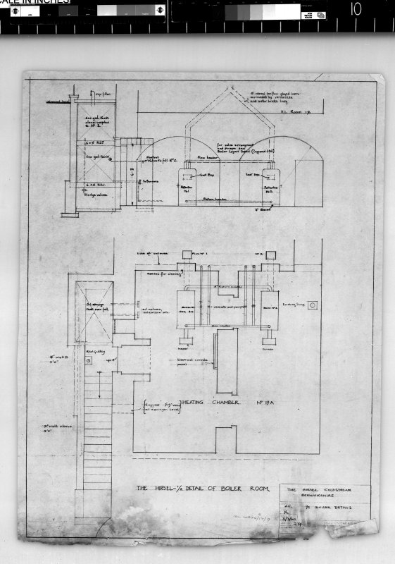 Elevation and plan of boiler room. Scanned image of E 42438.