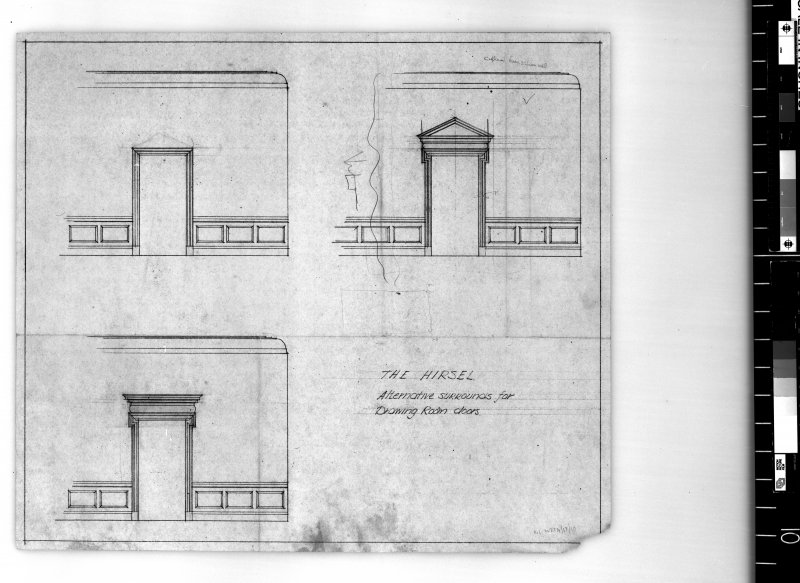 Section showing alternative surrounds for drawing room doors. Scanned image of E 42439.