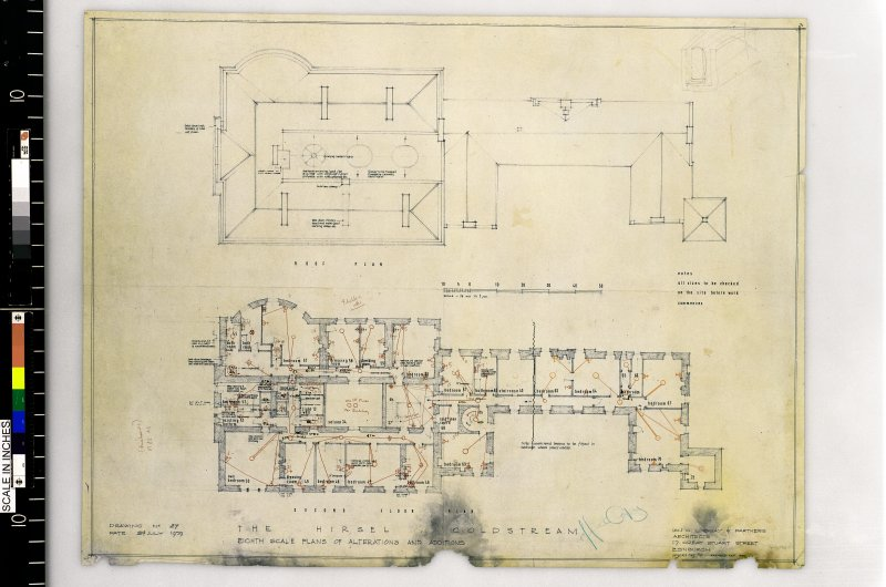 Second floor and roof plans. Scanned image of E 42428 CN.