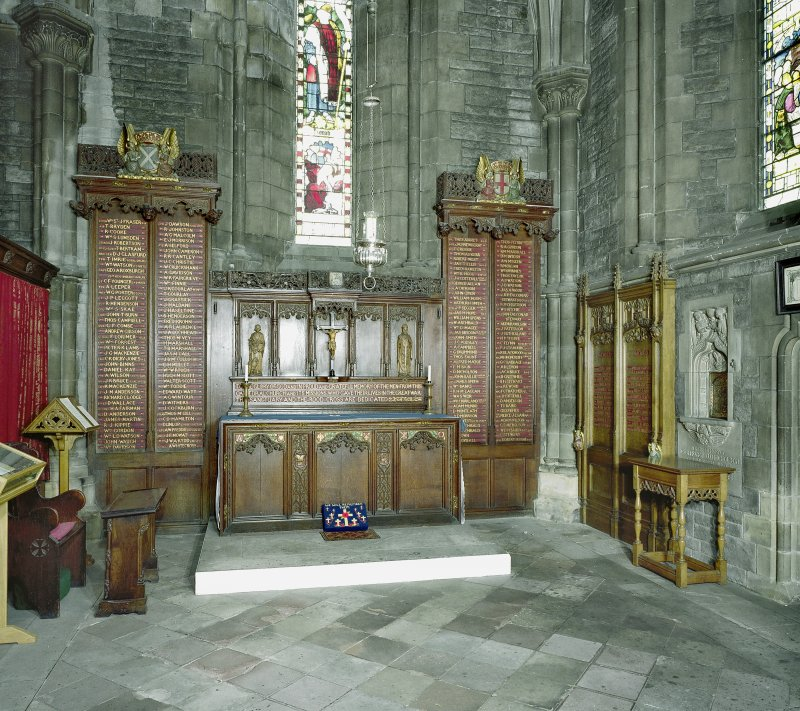Interior. View of side chapel dedicated to members of cathedral and its missions lost in World War I.