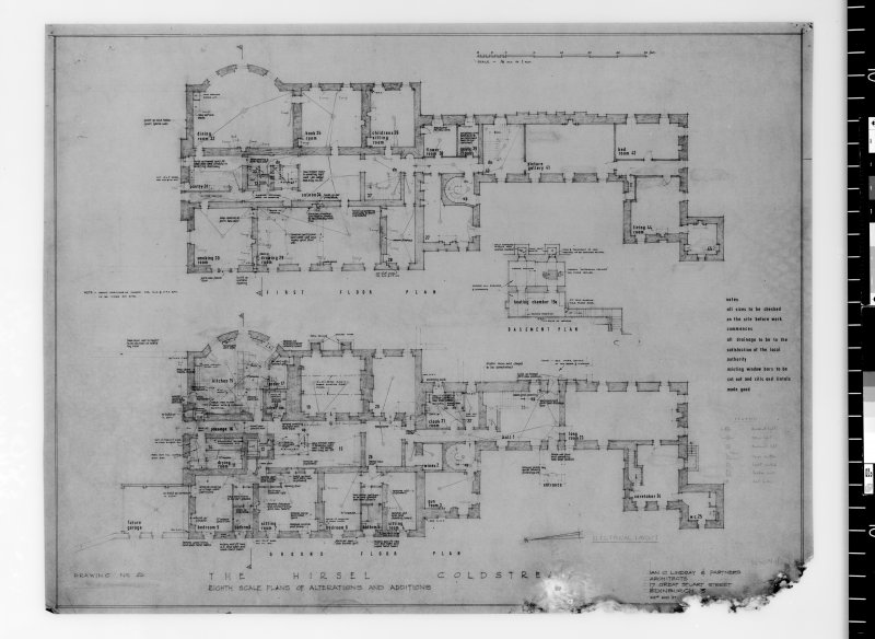 Plans showing additions and alterations including installation of electricity. Scanned image of E 42742.