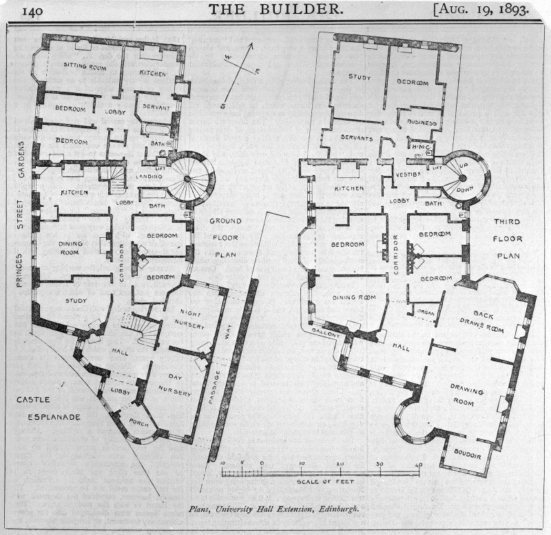 Plan showing University Hall extension.
