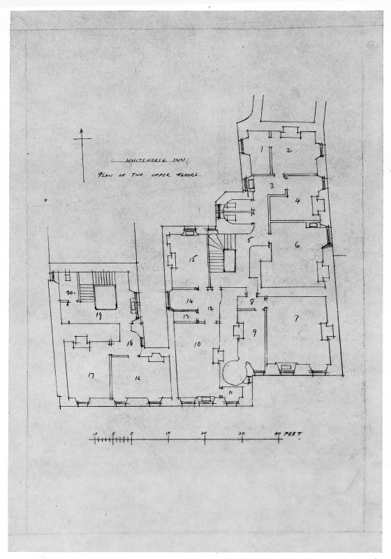 Plan of two upper floors of South East corner block of White Horse Inn.