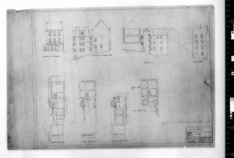 Survey plans, sections and elevations of 537-539 Castlehill. Scanned image of E 48214.