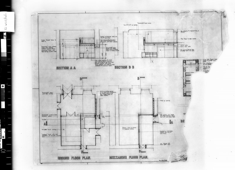 Renovation of South side and South East corner. Plans and sections of ground and mezzanine floors.   Scanned image of E 48165.