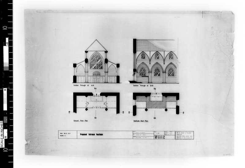 Plans and sections of entrance showing alterations.