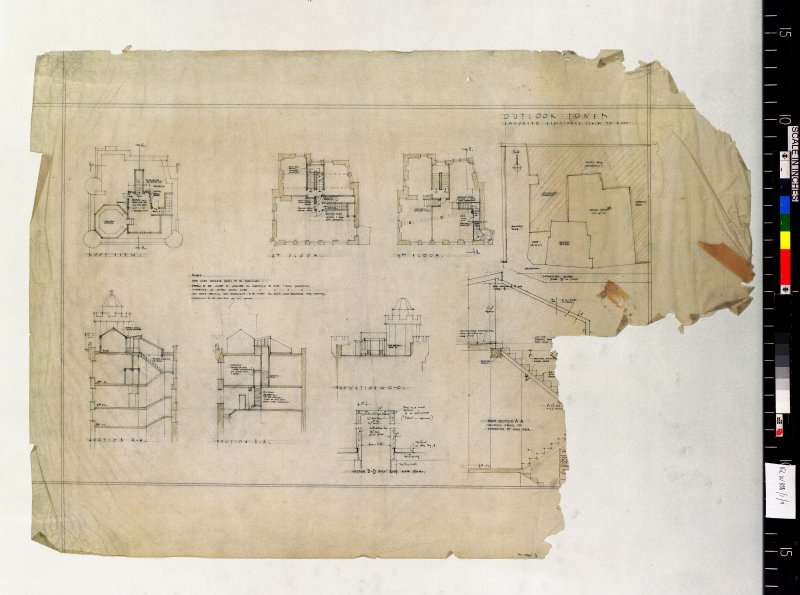 Site plan, plans, sections and elevation. Scanned image of E 48179.