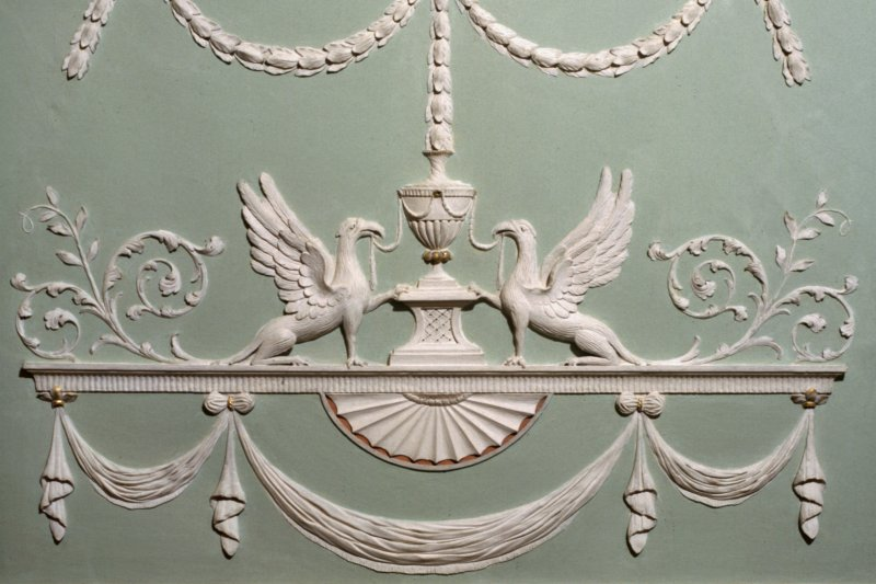Principal floor, drawing-room, detail of plasterwork on ceiling. Paxton House.