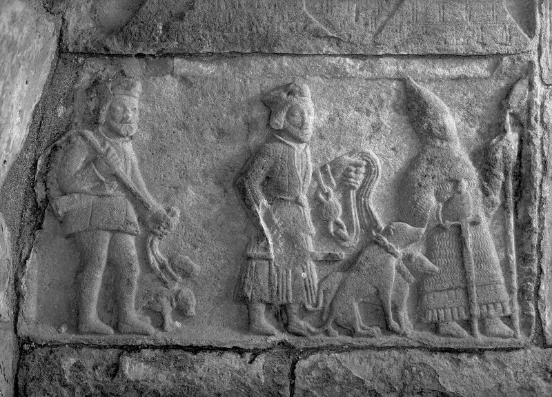 Detail of the tomb to Alexander Macleod, showing a hunting scene.