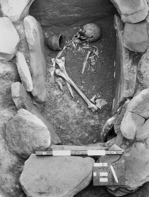View of cist burial during excavation in 1979, Strathallan, North Mains.