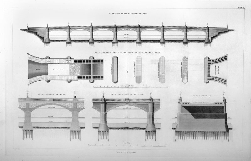Glasgow, Glasgow Bridge. Digital image of plan of elevations and section.