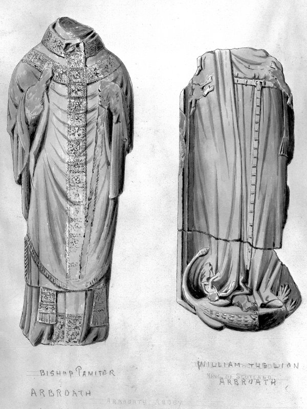 Drawing showing effigies of Bishop Paniter and William the Lion, Arbroath Abbey.