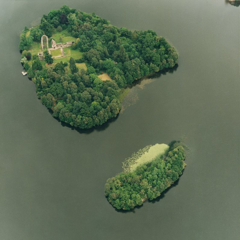 Oblique aerial view of the Lake of Menteith centred on the priory with Inch Talla adjacent, taken from the WSW.