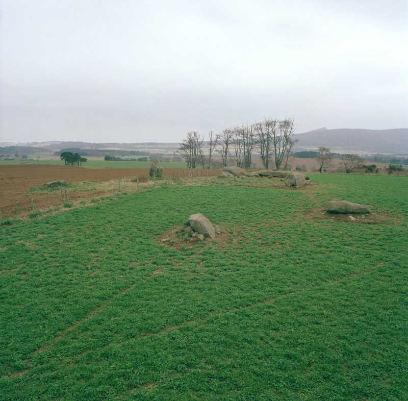 Old Rayne recumbent stone circle from the NNW