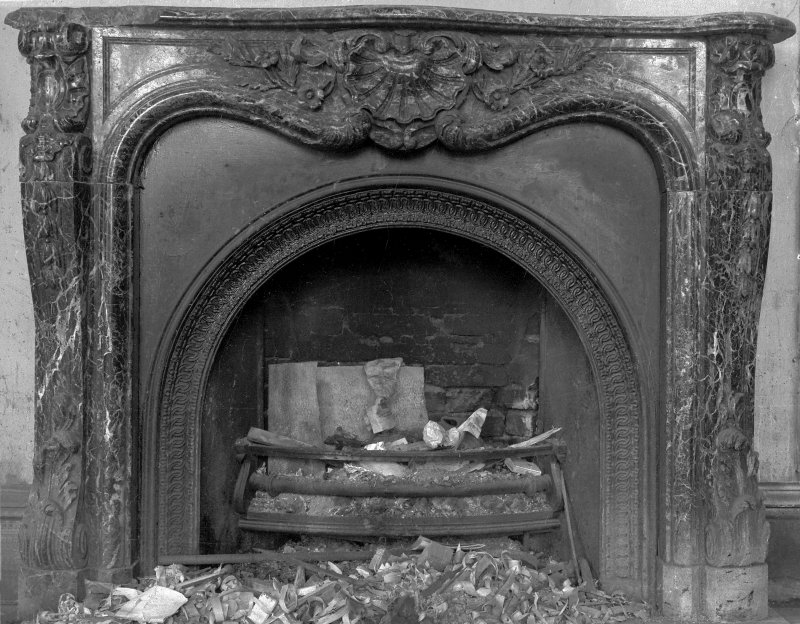 Digital image of detail of fireplace, architect William Burn 1853.