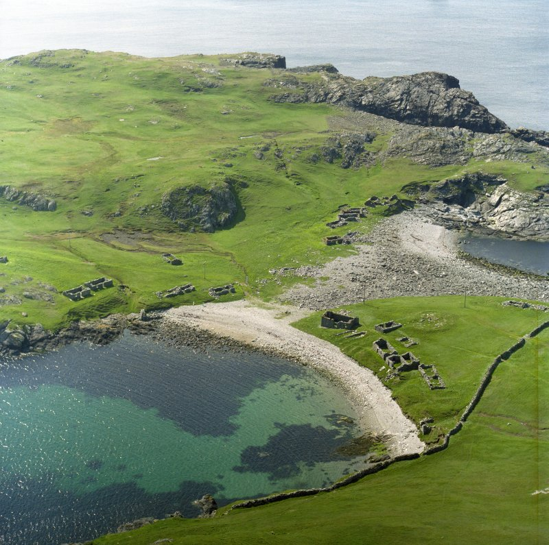 Oblique aerial view of the remains of the fishing station and homestead, Fethaland, North Roe taken from the E.
