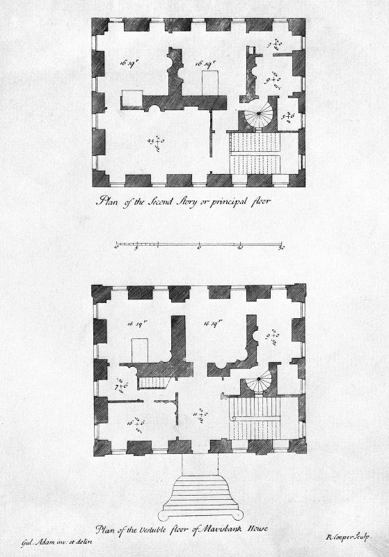 Digital image of plans of the vestibule and second story/principal floor of Mavisbank House.