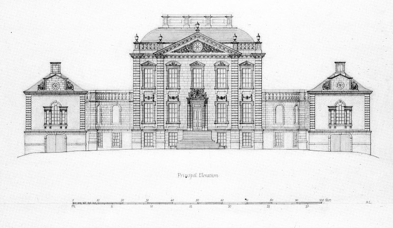 Principal elevation. Scanned image of photographic copy.