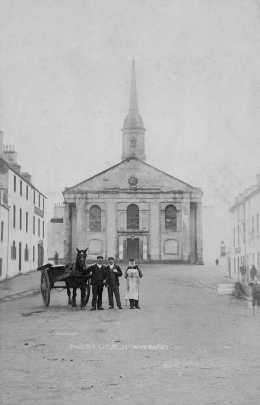 Inveraray, Inveraray Church. View from South with men and cart standing in foreground. Insc: 'Parish Church, Inveraray'.