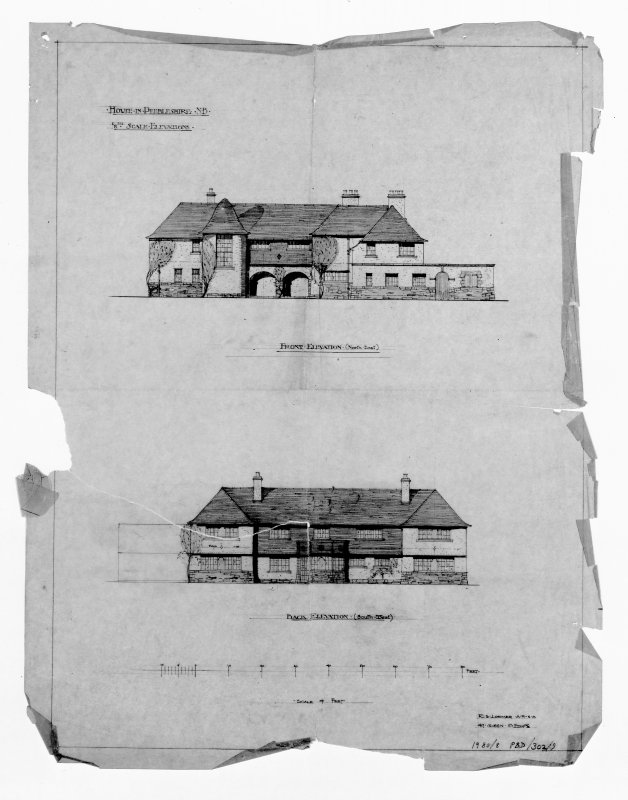 Photographic copy of drawing of front and back elevations (Second Lorimer design)