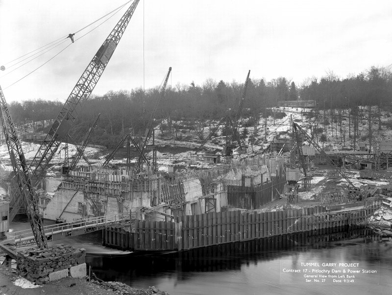 View from N of construction work, taken from Left Bank upstream of dam. Copy of negative, Tummel Valley, Box 879/1, Contract No. 17, Ser. No. 27.