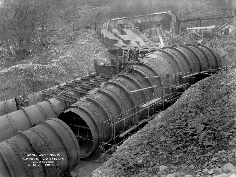 View of the construction of the Clunie Pipeline, showing Trifurcation. Copy of negative, Tummel Valley, Box 871/1, Contract No. 18, Ser. No. 21.