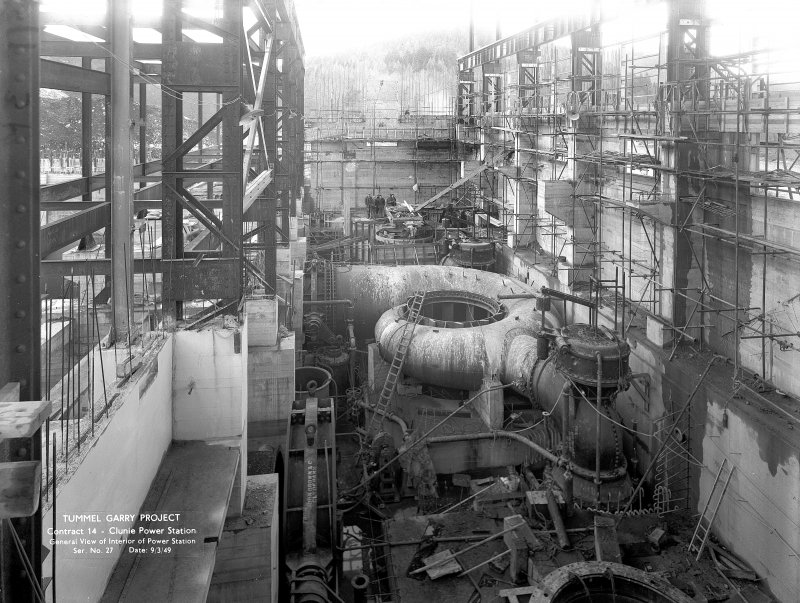 General View of the interior of the Power Station under construction. Copy of negative, Tummel Valley, Box 870/2, Contract No. 14, Ser. No. 27.