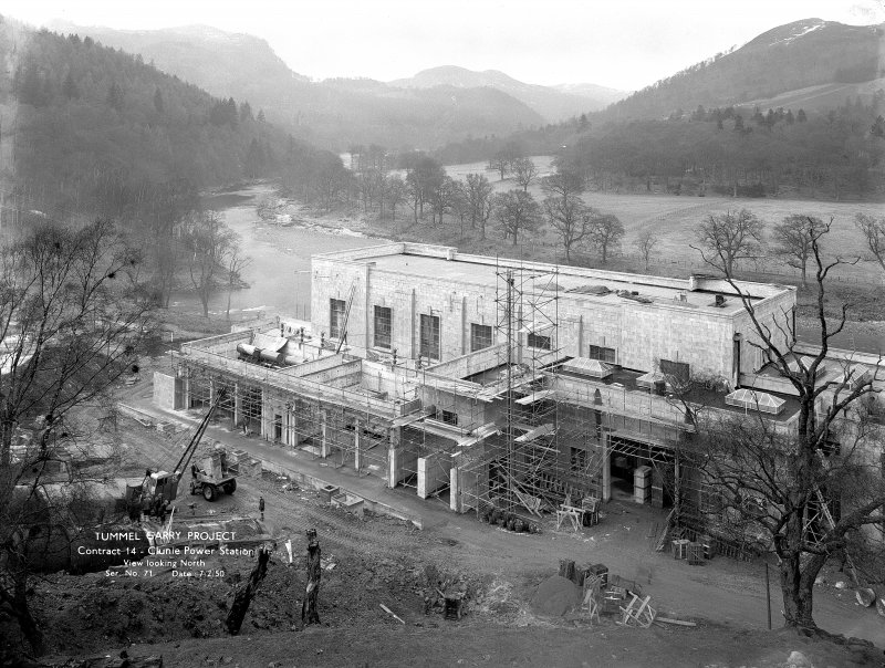 View from S during construction. Copy of negative, Tummel Valley, Box 864/2, Contract No. 14, Ser. No. 71.