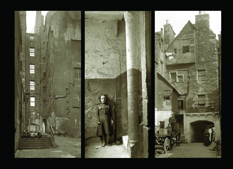 Composite of 3 scanned images:  SC862079 General view within courtyard of Craig's Close with 5 children sitting on steps. SC460296 View in Dickson's Close with young girl (about 8 years old) standing at bottom of stairs. SC862077 Rear view of Huntly House from Bakehouse Close.