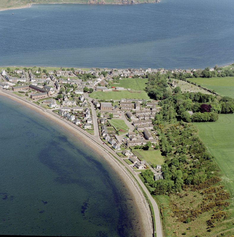 Aerial view of the town of Cromarty, except the harbour area, taken from the SSW.