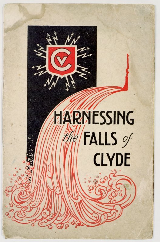 Scanned image of colour negative shwoing front cover illustration of the booklet, 'Harnessing the Falls of Clyde'; in red, black and white; displaying the logo of the Clyde Valley Electrical Power Company above a stylised motif of cascading water. Copy of colour negative.