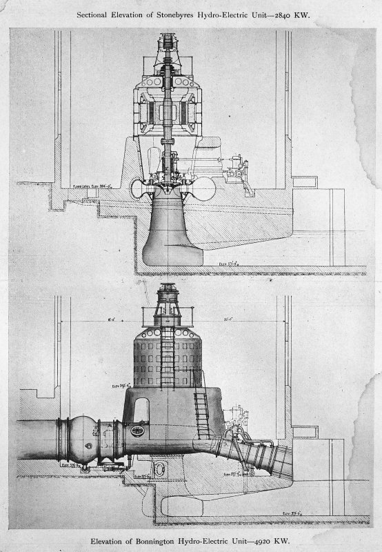 Sectional Elevation of Stonebyres Hydro-Electric Unit-2840 KW and Elevation of Bonnington Hydro-Electric Unit-4920 KW; copied from pages 4 and 5 of the booklet 'Harnessing the Falls of Clyde'. Copy of Black and white negative.