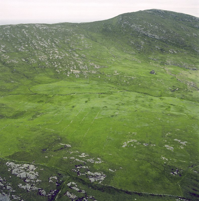 General oblique aerial view of the remains of the crofting strips, head-dykes and field enclosures, taken from the S.