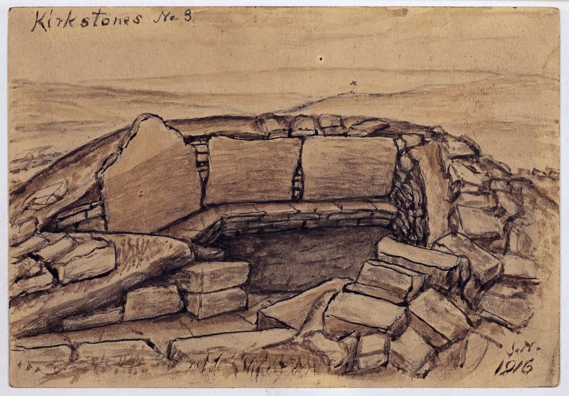 Watercolour of a stone-built chamber; entitled: 'Kirkstones No. 3'; and dated 1916.