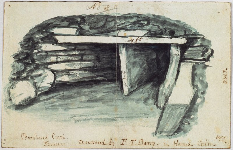 Digital copy of a drawing of chamber in cairn with measurements annotated 'No. 3' and labelled 'Chambered Cairn Yarhouse. Discovered by F T Barry in Horned Cairn 1900'. Verso:  drawing of chamber with measurements annotated 'No. 2'