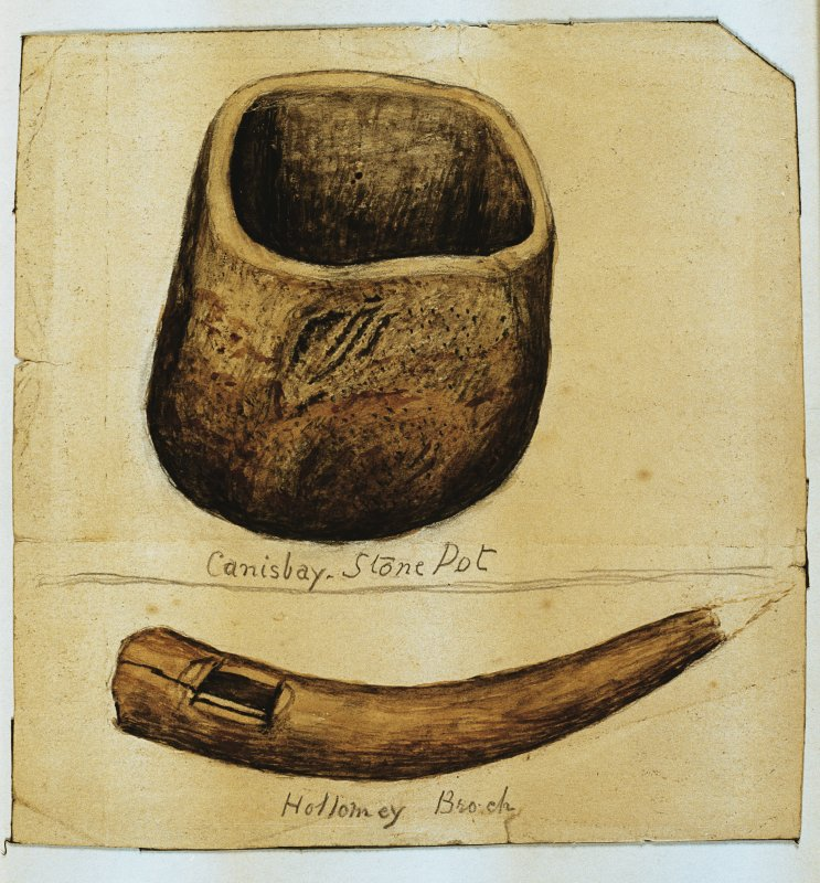Scanned image of E 40271 CN - a drawing of two artefacts: firstly, a vessel, annotated as 'Canisbay Stone Pot'; secondly, a segment of horn, annotated as: 'Hollomey Broch'.