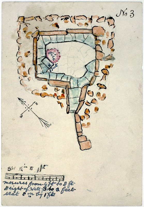 "Plan of a stone-built structure No. 3 to scale [a quarter inch to one foot]. A hand-written description at the foot of the page reads: ""me[a]sures from 6 ft to 8 ft. Height of Wall 3 to 2 feet. Seat 8 in. by 1 ft."""