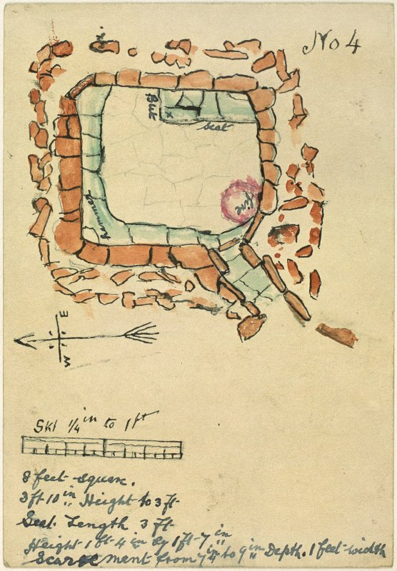"Watercolour of a stone-built structure in plan, to scale [a quarter inch to one foot], entitled: 'No.4'. A hand-written description at the foot of the page reads: ""8 feet square. 3 ft 10 in. Height to 3 ft. Seat Length 3 ft. Height 1 ft 4 in by 1 ft 7 in. Scarcement from 7 in. to 9 in Depth. 1 ft width""."