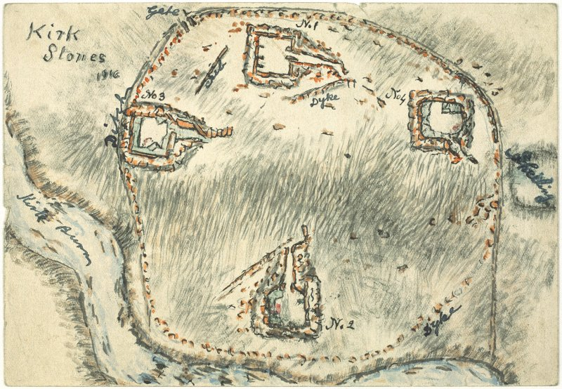 Scanned image of E 49269 CN - a drawing in plan of a series of four structures within an enclosure, entitled: 'Kirk Stones'.