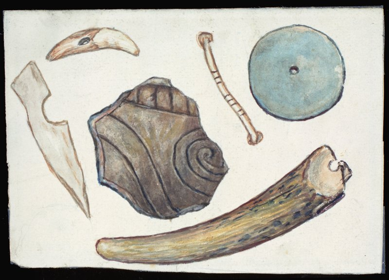 Scanned image of watercolour drawing of six objects including a a decorated piece of pottery and stone disc.  Annotated on reverse 'Ballacharn'.